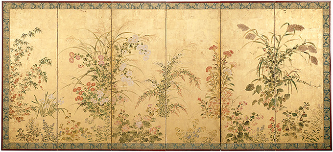 NGV-Tawaraya-Sotatsu-Flowering-plants-of-the-four-seasons