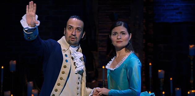 Lin-Manuel Miranda and Phillipa Soo in Hamilton - courtesy of Disney +