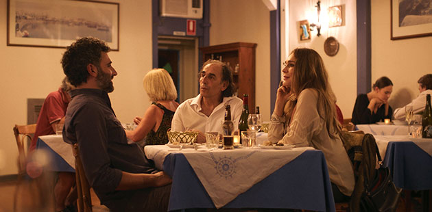 Peter Paltos (Arman), Vangelis Mourikis (Kostas) and Tottie Goldsmith (Rebecca) star in The Taverna (film still)