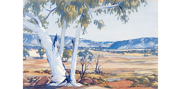 Albert-Namatjira-MacDonnell-Ranges-at-Heavitree-Gap-early-1950s