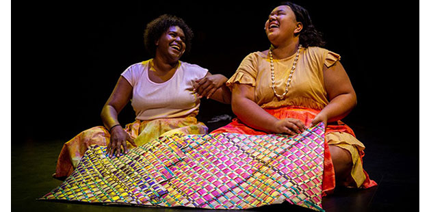 RAA-RAF-Pierotta-Bagiri-and Vainetutai-'Bubba'-Tou-in-Woven-produced-by-Women-of-AustraNesia,-2019-photo-by-Colyn-Huber