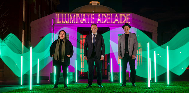 Illuminate-Adelaide-Rachael-Azzopardi-Premier-Steven-Marshall-and-Lee-Cumberlidge