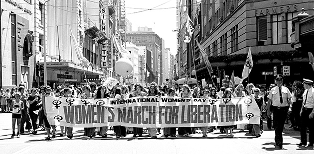 Brazen-Hussies-March-for-Liberation---International-Women's-Day-March-(Sydney,-1975)---photo-by-Anne-Roberts,-courtesy-Mitchell-Library,-State-Library-of-New-South-Wales