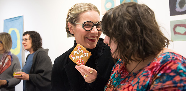 Catherine-Bell-and-Eden-Menta-at-FEM-aFFINITY-exhibition-opening-(Arts-Project-Australia-2019)-photo-by-Kate-Longley