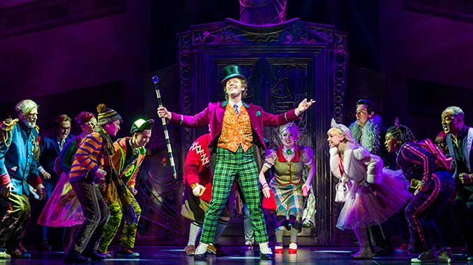 Stephen-Anderson-as-Willy-Wonka-(centre)-with-the-Cast-of-Charlie-and-the-Chocolate-Factory-photo-by-Darren-Thomas